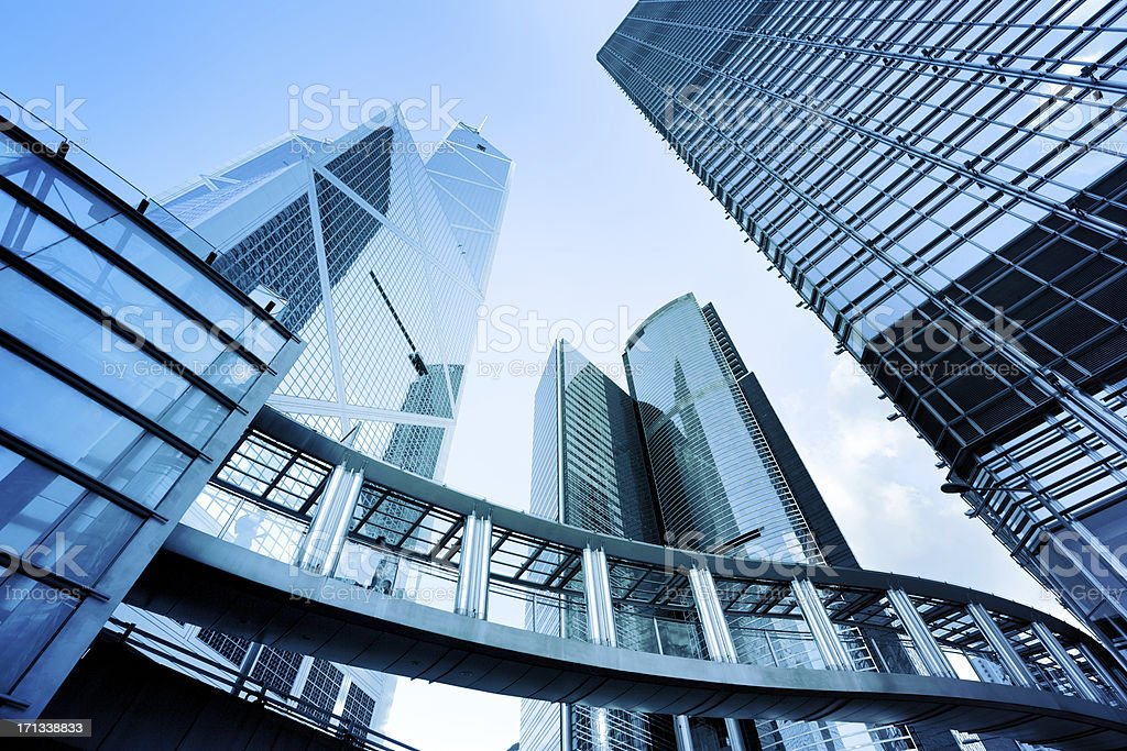 Ground view of metal and glass buildings stock photo