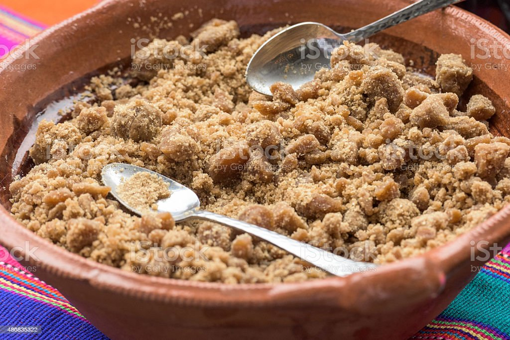 Grounded Piloncillo (grounded mexcian brown sugar) stock photo