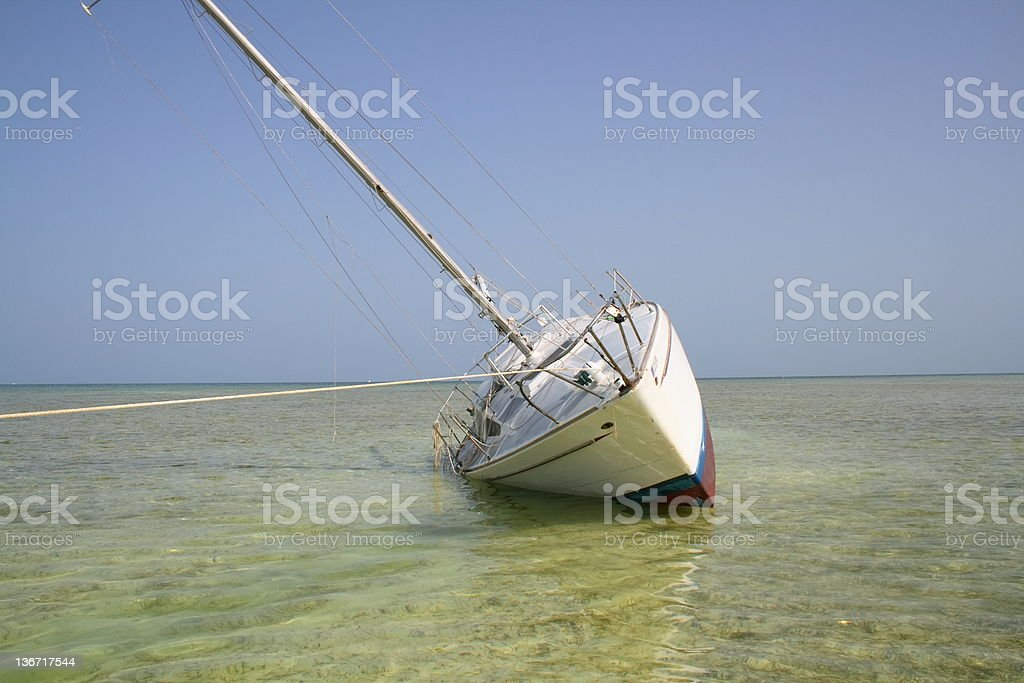 Grounded sailboat royalty-free stock photo