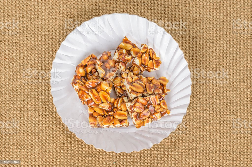 Groundnut and jaggery candy stock photo