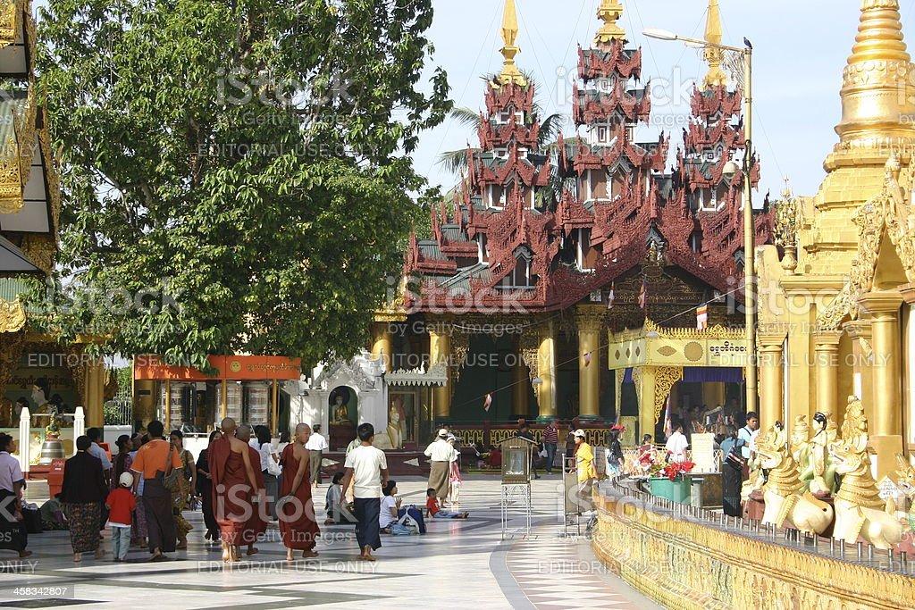 Grounds of the Shwedagon Pagoda royalty-free stock photo