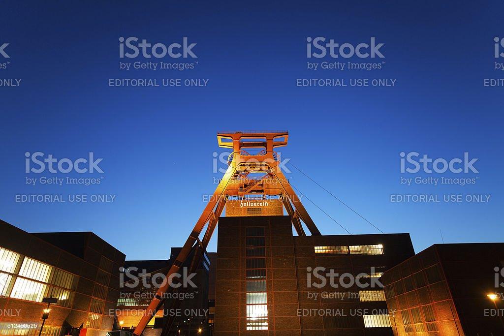 Grounds of Zeche Zollverein at night stock photo