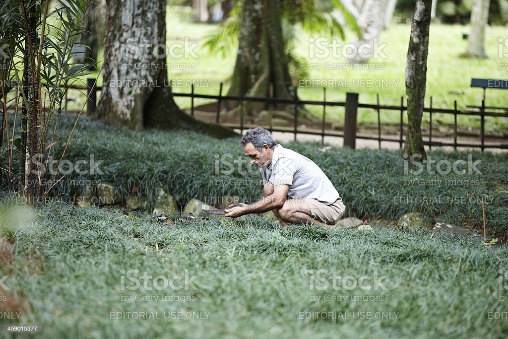 Groundsman at work in Rio park royalty-free stock photo