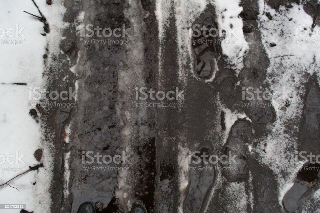 Groung melting snow mud background royalty-free stock photo
