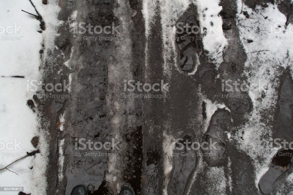 Groung melting snow mud background stock photo