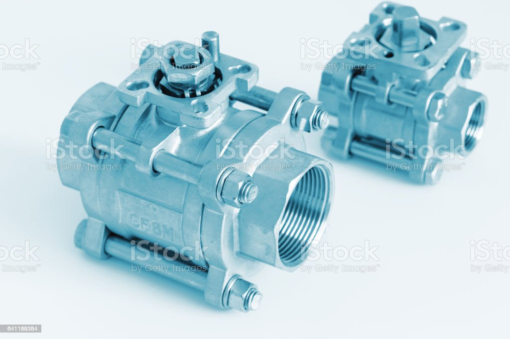 Group 2 ball valves stock photo