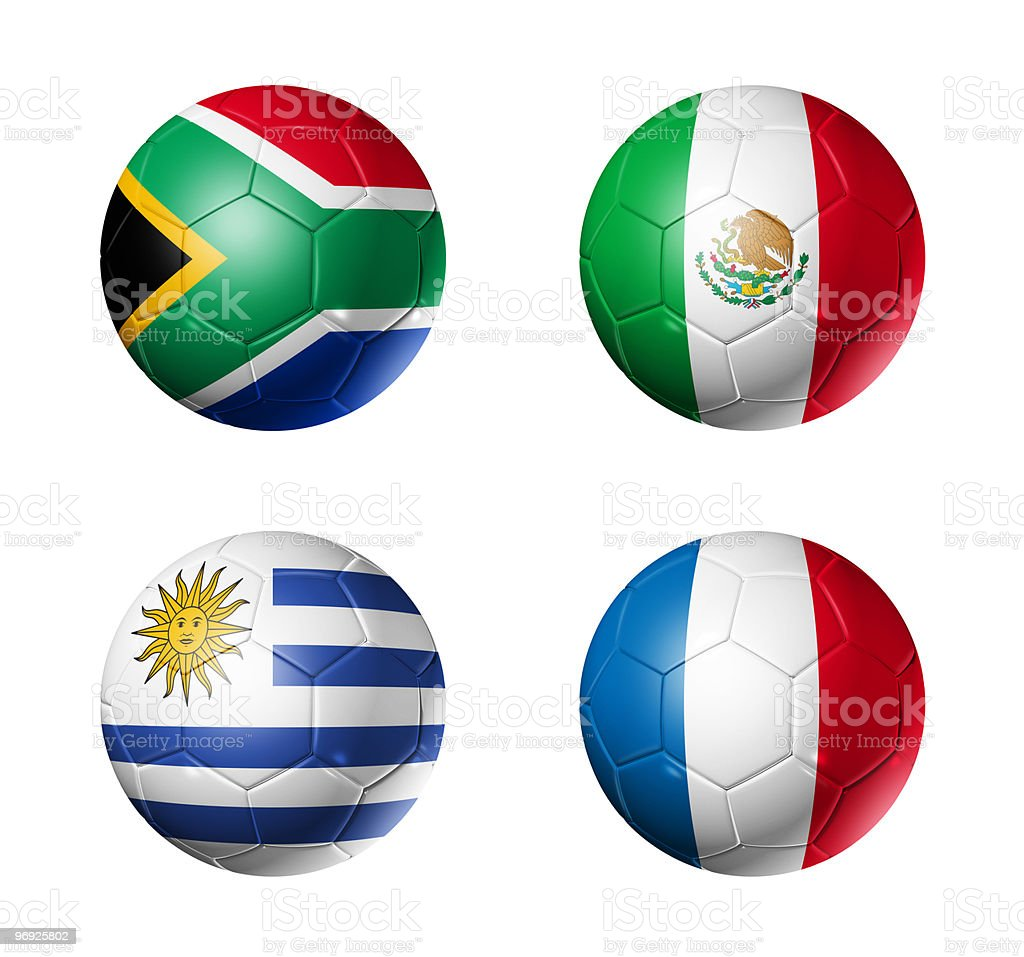 group A flags on soccerballs - 2010 royalty-free stock photo