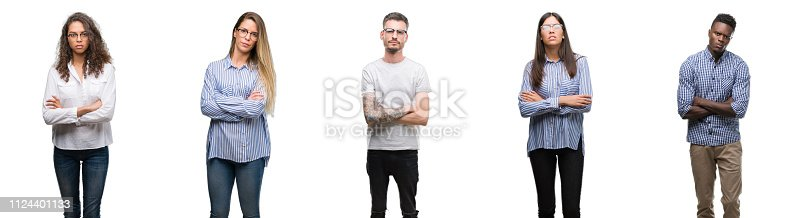 istock Group and team of young business people over isolated white background skeptic and nervous, disapproving expression on face with crossed arms. Negative person. 1124401133