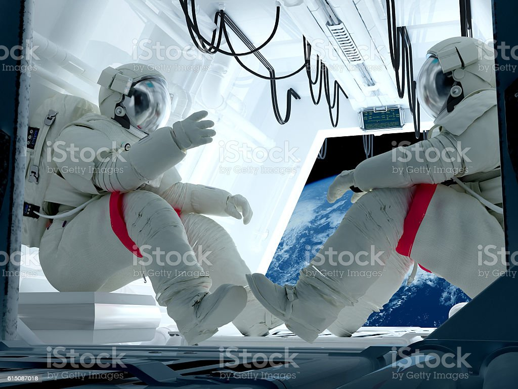 Group astronauts stock photo