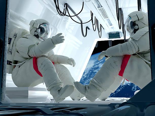 Group astronauts stock photo