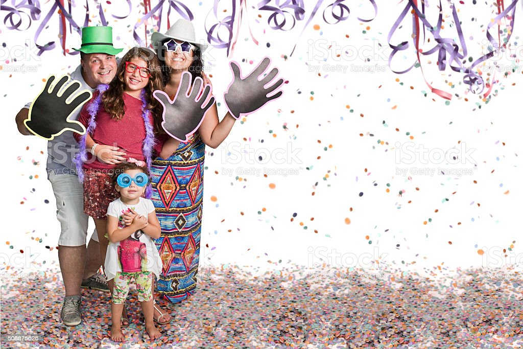 Group at Carnival party stock photo