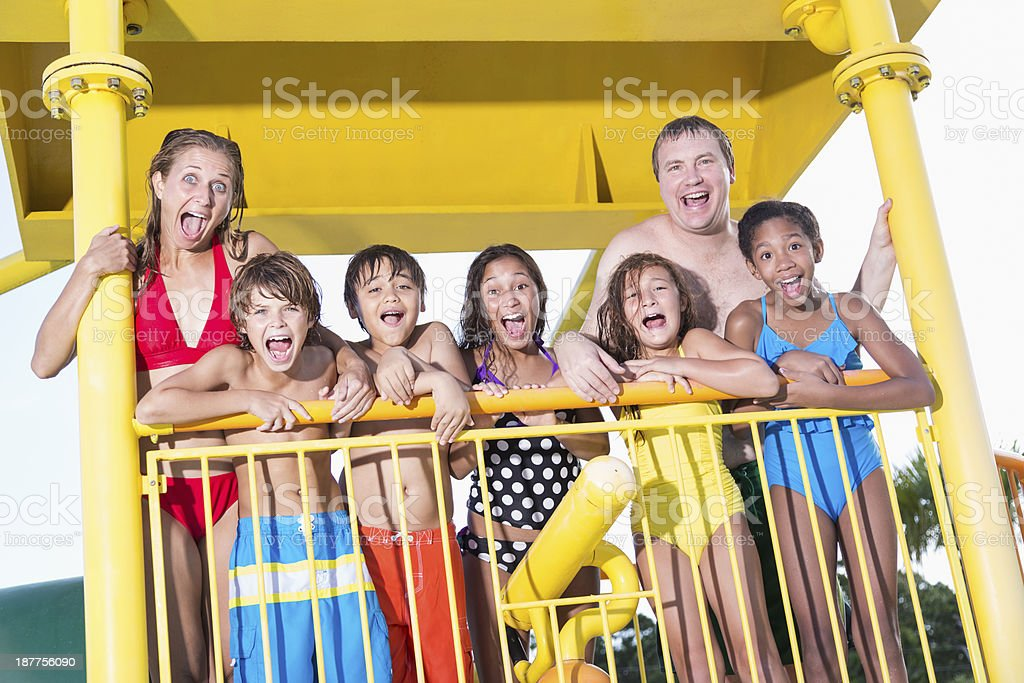 Group at water park stock photo