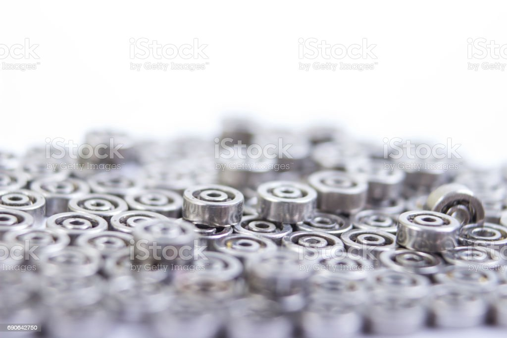 Group bearings and rollers automobile components for the engine and chassis suspension stock photo