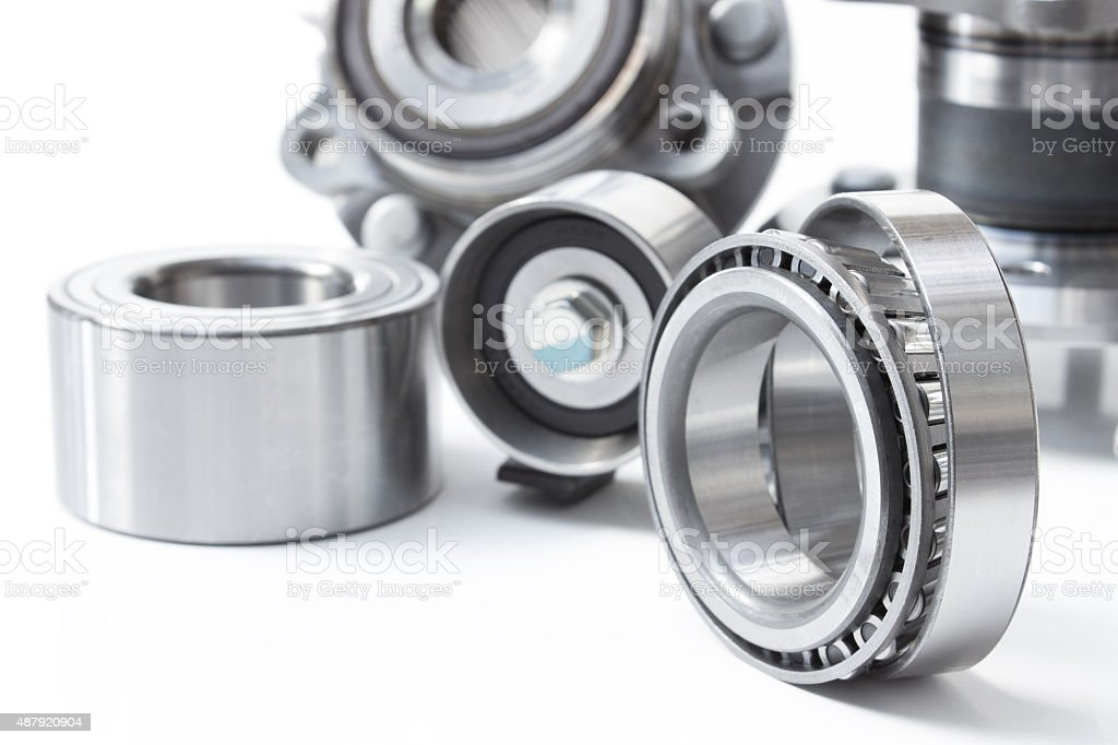 Group bearings and rollers (automobile components) stock photo