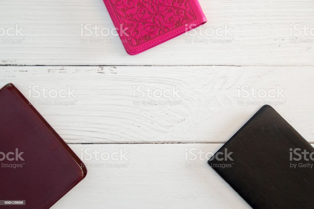 Group Bible Study on a White Wood Table stock photo