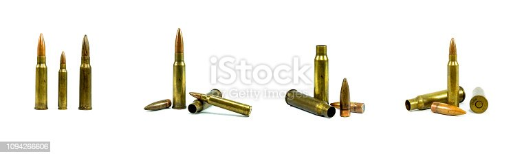A group bullets for a gun isolated on white background. Ammunition on a white background.