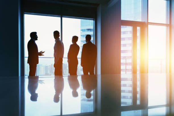 group business people big window office concept - amministratore delegato foto e immagini stock