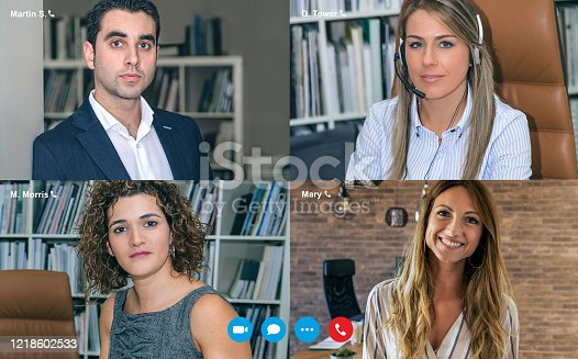 istock Group business video call screen 1218602533