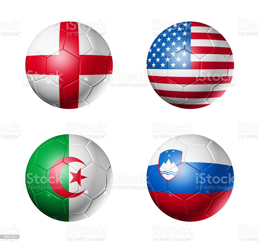 group C flags on soccerballs - 2010 royalty-free stock photo