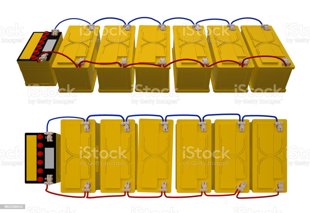 group car batteries connected 3d rendering stock photo