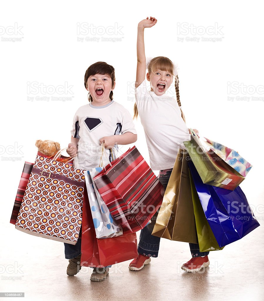 Group children boy and girl with shopping bag. royalty-free stock photo