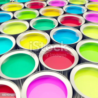 939851856 istock photo Group, collection tin metal cans with color paint dye. 3d 532407002