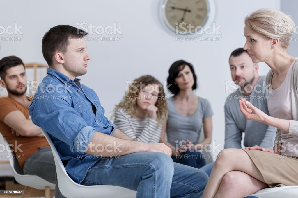Group counseling session stock photo