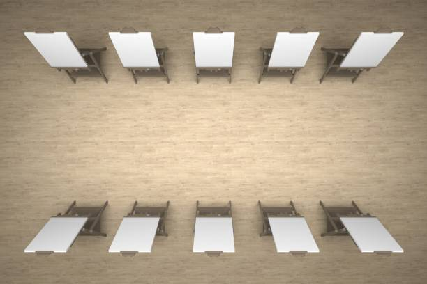 group easels top view 3d rendering stock photo