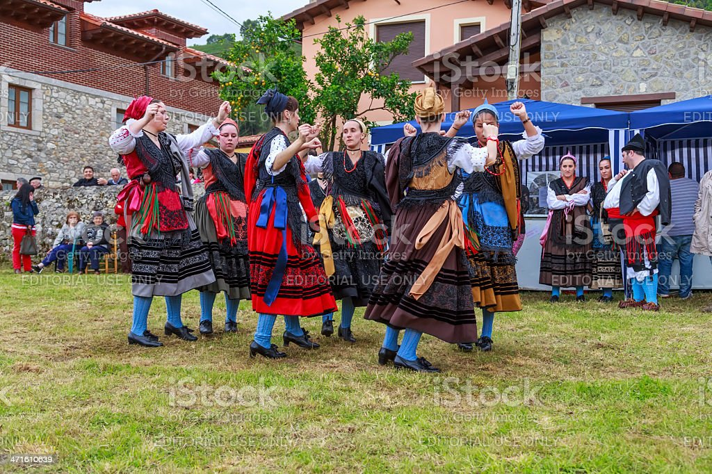 Group Entremontañas Virgen Cuesta in the traditional Dance at Santo royalty-free stock photo