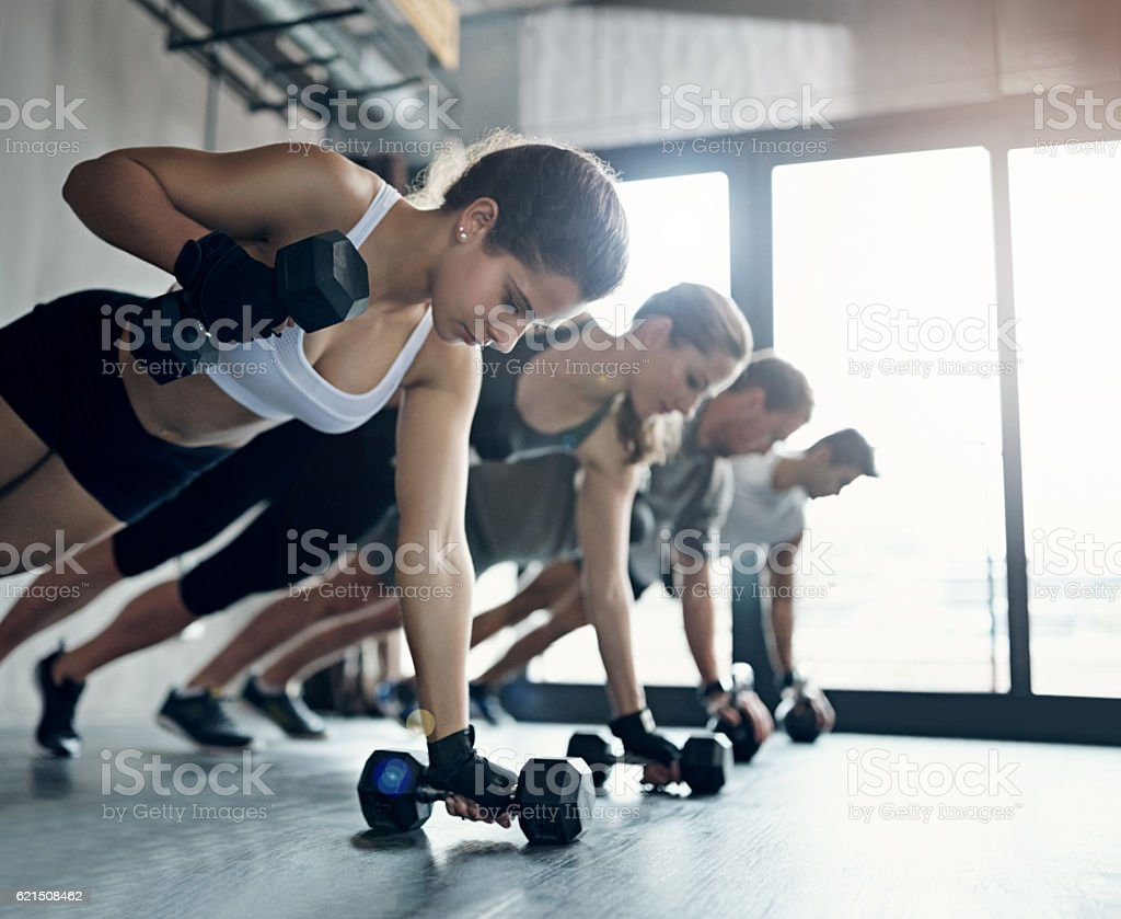 Group fitness classes are so much more efficient foto stock royalty-free