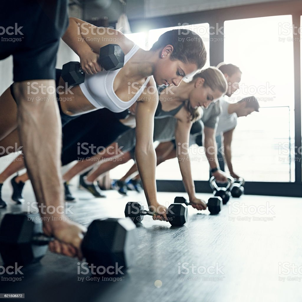Group fitness gives me that extra push foto stock royalty-free