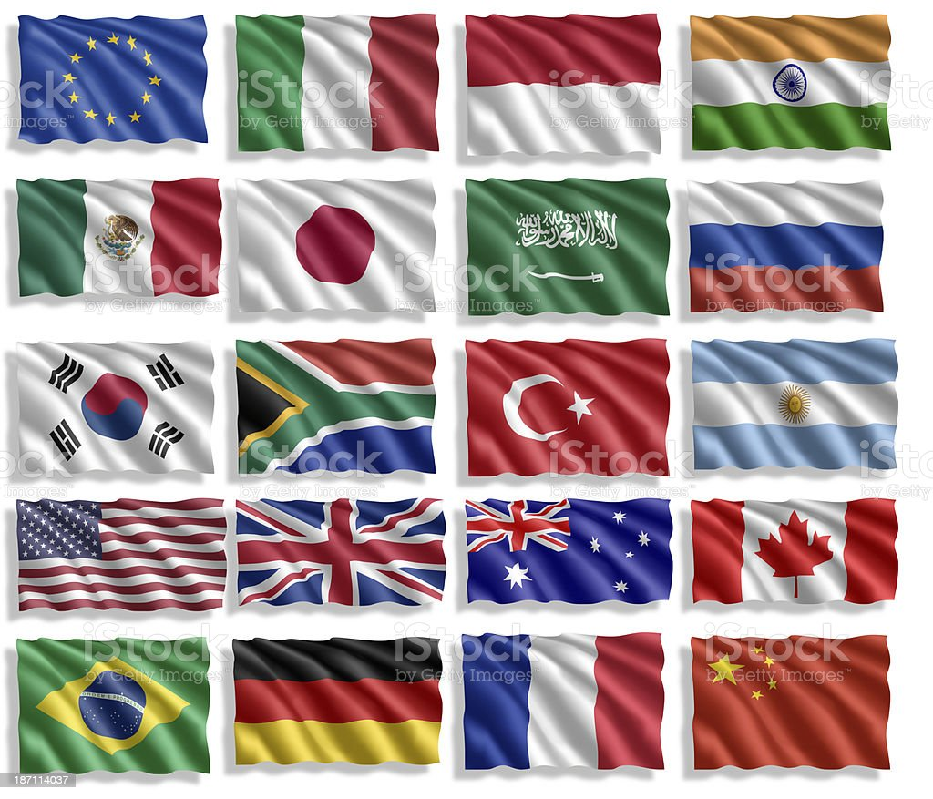 G-20 Group. Flag collection with shadow stock photo