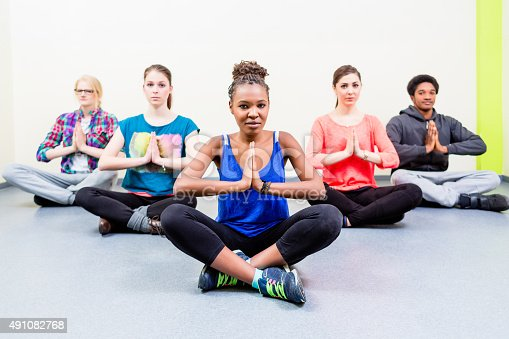 istock Group for friends in yoga class meditating 491082768