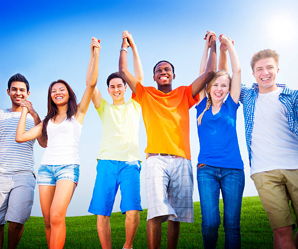 Group Friends Outdoors Celebration Winning Victory Fun Concept Group Friends Outdoors Celebration Winning Victory Fun Concept teenagers only stock pictures, royalty-free photos & images