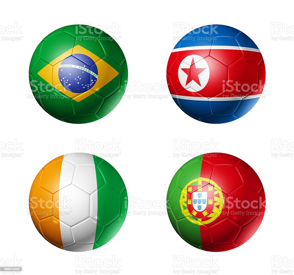 group G flags on soccerballs - 2010 royalty-free stock photo