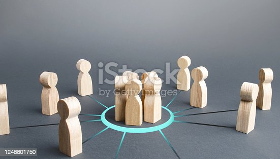 483424715 istock photo Group gathering people around. Collaboration and cooperation, team building. Recruitment. Joining around idea. Consolidation with majority. Involvement in a project. Accept membership in organization. 1248801750