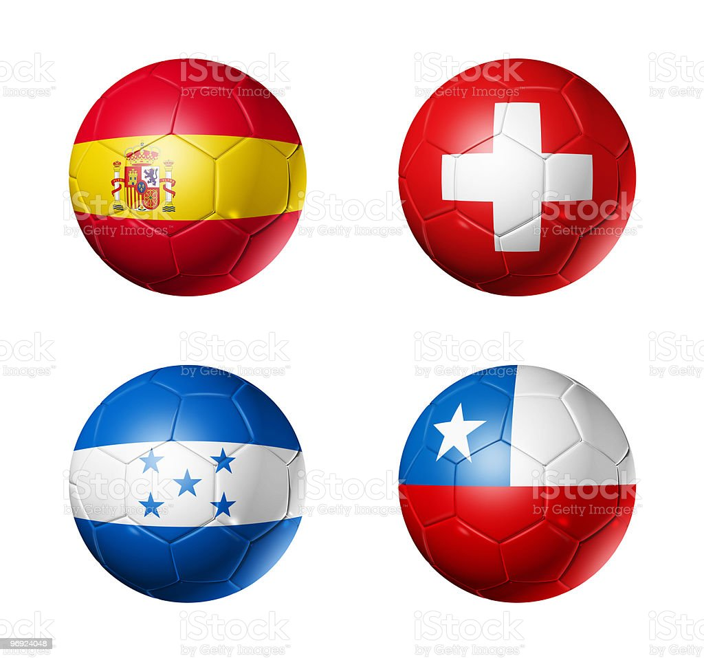 group H flags on soccerballs - 2010 royalty-free stock photo