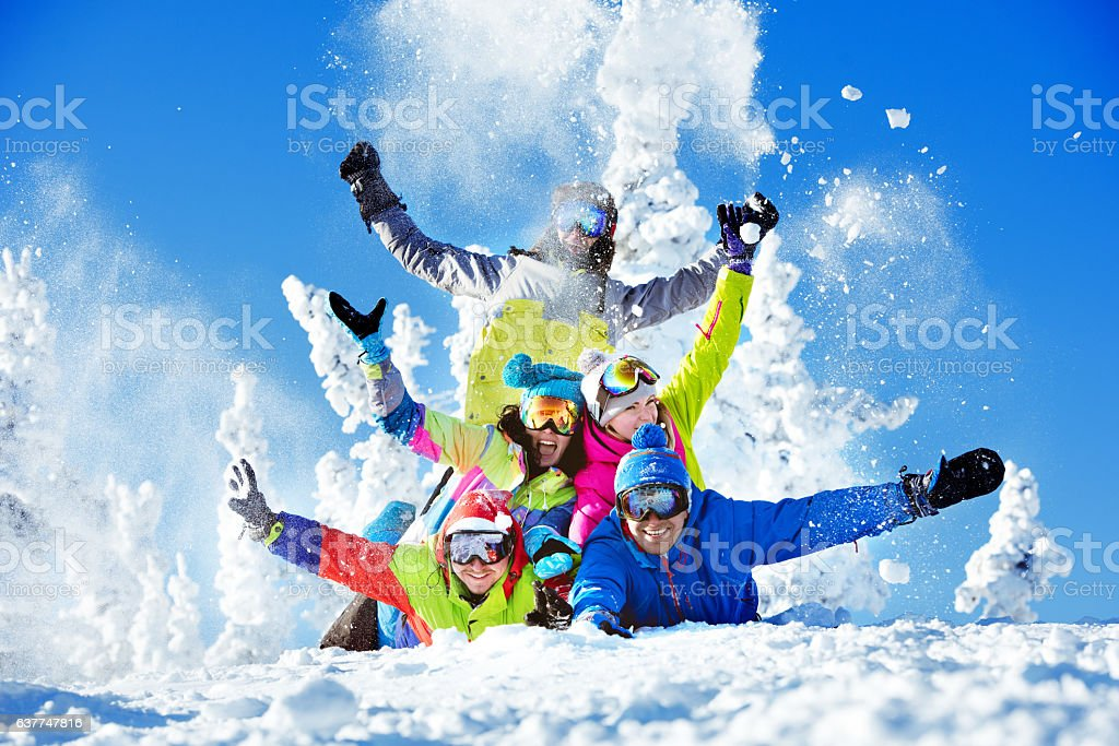 Group happy friends ski resort stock photo