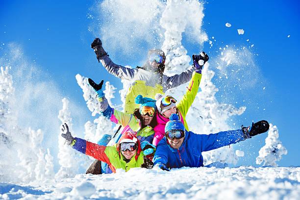 Group happy friends ski resort stock photo
