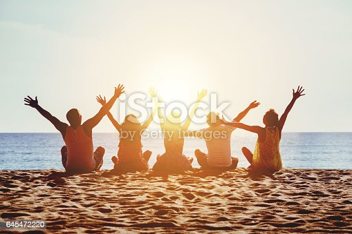 istock Group happy people beach sea sunset concept 645472220