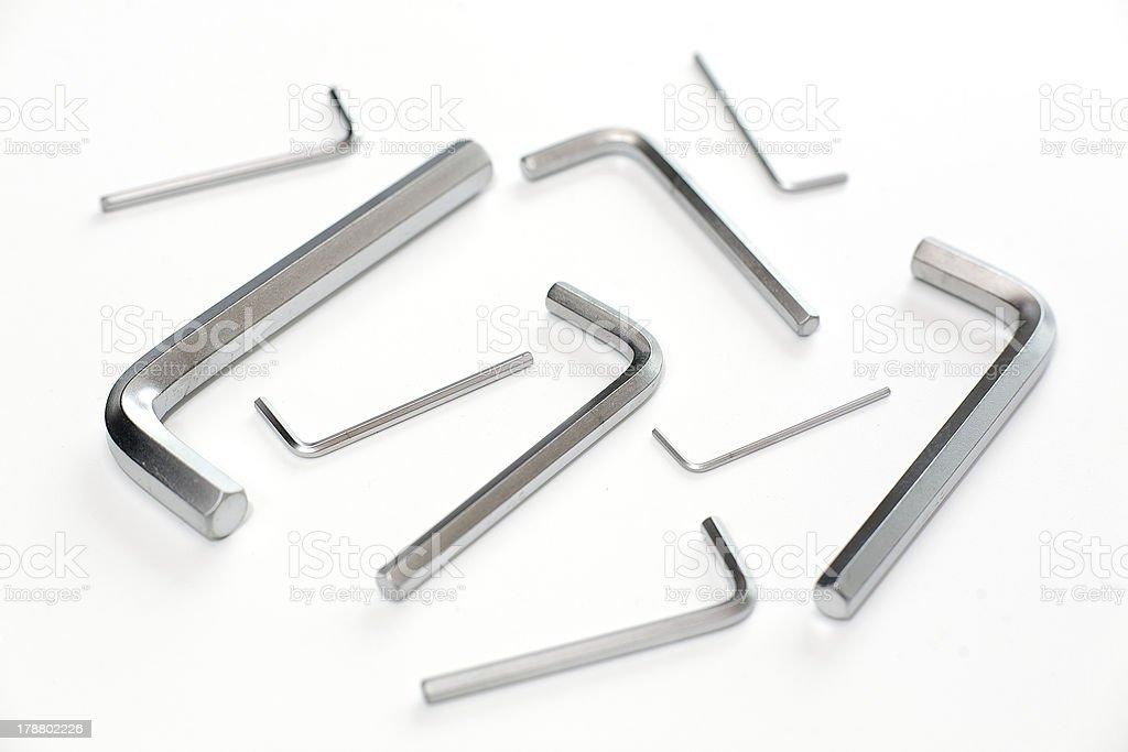 Group hex keys on white background royalty-free stock photo