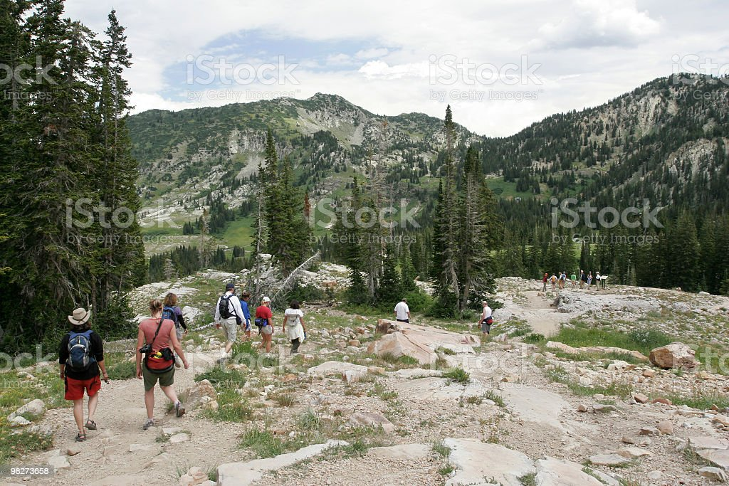 Group hiking in Utah, USA royalty-free stock photo