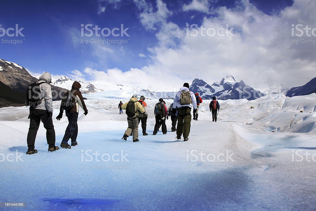 Group Hiking on Perito Moreno glacier, Patagonia, Argentina stock photo