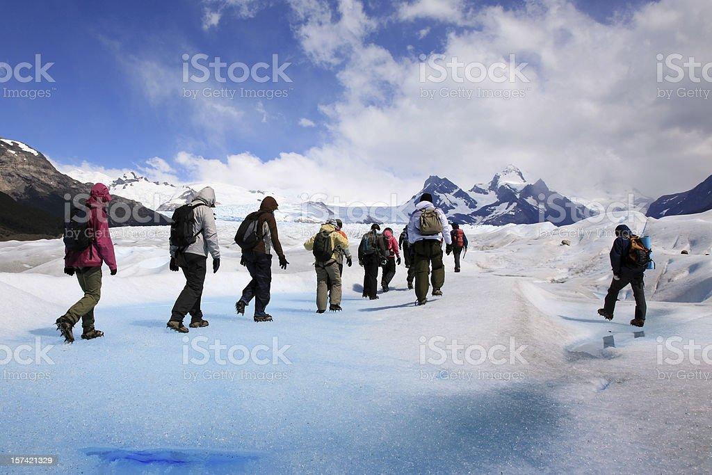 Group Hiking on Perito Moreno glacier royalty-free stock photo