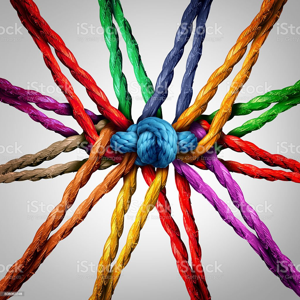 Group Holding Together Group holding together as different ropes connected and tied and linked together in the center by a knot as a strong  unbreakable chain and community trust and faith metaphor. Circle Stock Photo