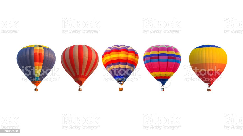 Group hot air balloons isolated on white background стоковое фото