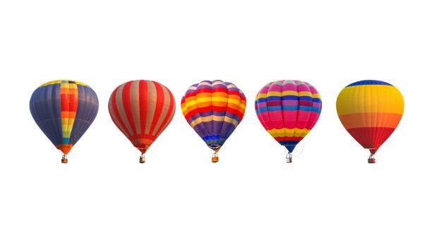 ballons à air chaud groupe isolés sur fond blanc - montgolfière photos et images de collection