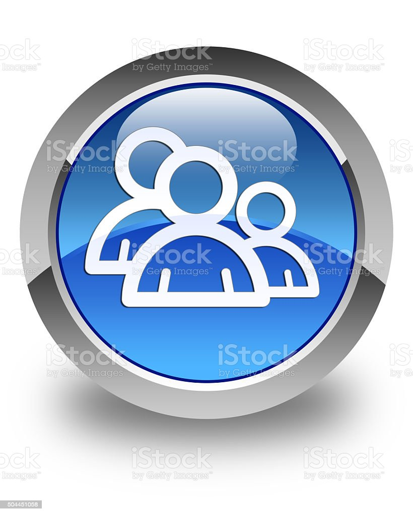 Group icon glossy blue round button 3 stock photo