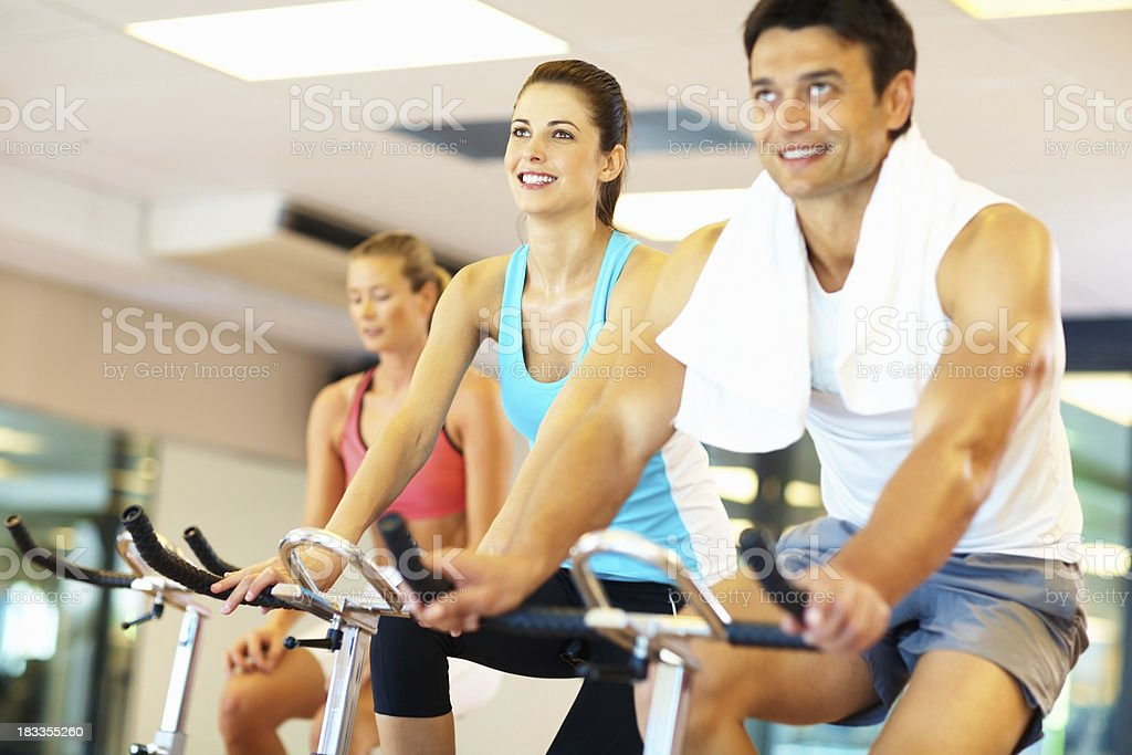 Group in a spinning class royalty-free stock photo