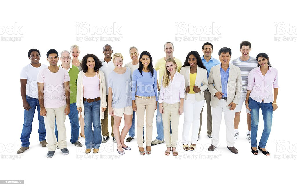 Group in casual clothes on white background stock photo